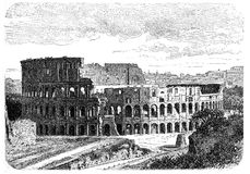 Colosseum. Illustration of Colosseum in Rome. Originally published in swedish book Historisk l�sebok published in 1882, the image is currently in public royalty free illustration