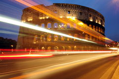 Colosseum at night, landmark attraction in Rome - Italy Royalty Free Stock Image