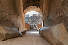 Colosseum. Path inside the ancient roman amphiteater Colosseum in Rome, Italy Royalty Free Stock Photos