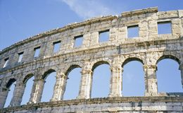 Colosseum. Ancient roman colosseum in croatian city of Pula, Istria Stock Image