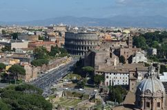The Colosseum. And the Roman Forum, Rome royalty free stock image