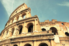 Colosseum. In Rome, Itlay - view from bottom, warm colours Stock Photos