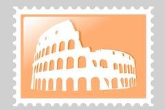 Colosseum Amphitheater. Briefmarke. stock abbildung