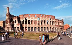 The Colosseum. Ancient Roman Amphitheater and tourist attractions Stock Photography