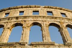 Colosseum antique d'empire romain dans le Pula, Croatie Photo libre de droits