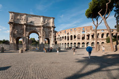 Colosseum and the Arch of Constantine Stock Photography