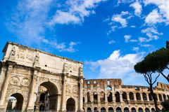 Colosseum and Arch of Constantine. Panoramic view of the Arch of Constantine and the Colosseum in Rome Royalty Free Stock Photography