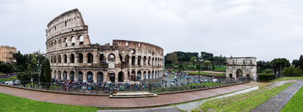 Colosseum and Arch of Constantine. Panorama Stock Photography