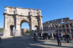 The Colosseum and the Arch of Constantine in Rome Royalty Free Stock Images
