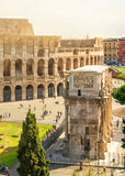 Colosseum and Arch of Constantine in Rome Royalty Free Stock Photo