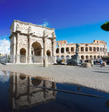Colosseum and Arch of Constantine, Rome, Italy. Arch of Constantine and Colosseum, antique Rome, Italy Stock Images