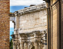 Colosseum Arch of Constantine Rome Italy. Arch built in 315 AD to celebrate Emperor Constantine`s victory in 312 over co-emperor Maxenntius.  Constantine Stock Photography