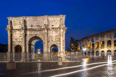The Colosseum and The Arch of Constantine in Rome. The Colosseum and The Arch of Constantine at night, Rome, Italy Stock Photography