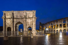 The Colosseum and The Arch of Constantine in Rome. The Colosseum and The Arch of Constantine at night, Rome, Italy Royalty Free Stock Images