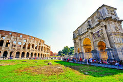 Colosseum and Arch of Constantine in a sunny day in Rome Royalty Free Stock Photo