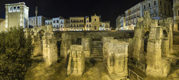 Colosseum arena lecce night scene Royalty Free Stock Photography