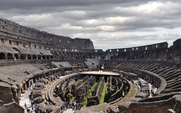 Colosseum arena and underground. Arena and underground levels at the Colosseum in Rome stock photography