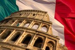 Colosseum auf Markierungsfahne Stockfoto