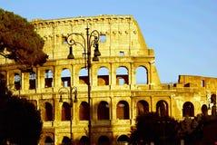 Colosseum bij zonsondergangschaduwen Stock Foto