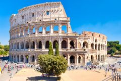 The Colosseum in central Rome on a sunny summer day Royalty Free Stock Photos