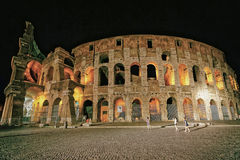 Colosseum in the city center in Rome Italy at dusk Royalty Free Stock Photo