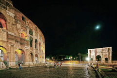 Colosseum in the city center of Rome Italy night Royalty Free Stock Photo