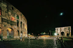 Colosseum in the city center in Rome Italy at night Stock Image