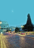 Colosseum in city center of Rome in Italy at night Royalty Free Stock Photography