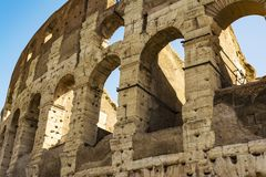 Colosseum closeup view, the world known landmark of Rome, Italy. Stock Photography