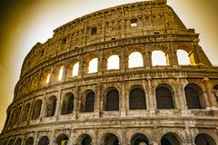 Colosseum closeup view, the world known landmark of Rome, Italy. Stock Photos