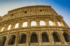 Colosseum closeup view, the world known landmark of Rome, Italy. Royalty Free Stock Photo