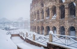 Snow in Rome on February 2018, the Colosseum in the morning while snowing. stock photo