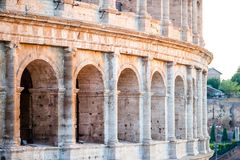 Colosseum or Coliseum background blue sky in Rome. Italy Stock Image