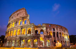 The Colosseum(Coliseum) at dusk. In Rome, Italy royalty free stock image