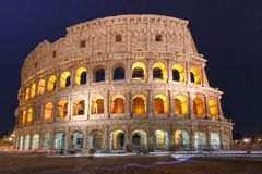 Colosseum or Coliseum at night, Rome, Italy. Colosseum or Coliseum at night, also known as the Flavian Amphitheatre, the largest amphitheatre ever built, in the Stock Photos