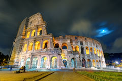 Colosseum (Coliseum) at night in Rome Stock Photos