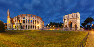 Colosseum or Coliseum at night, Rome, Italy. Royalty Free Stock Images