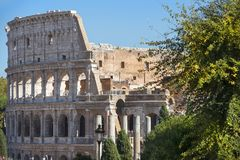 Colosseum or Coliseum in Rome, Italy. Colosseum or Coliseum original name, Flavian Amphitheatre  in Rome, Italy. main tourist attraction of Rome royalty free stock photo