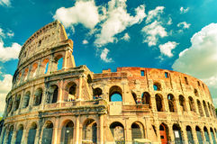 Colosseum (Coliseum) in Rome. Italy. Vintage Photo Stock Images