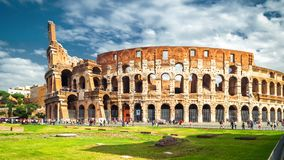 Colosseum or Coliseum in Rome in the sunlight, Italy. Rome landmark. It is the main tourist attraction of Rome. Historical architecture and ruins in central Royalty Free Stock Photography