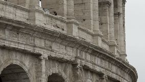 Colosseum columns, antique ruins of famous amphitheater in Rome, architecture. Stock footage stock video footage