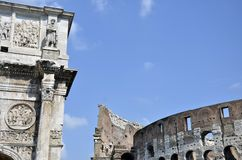 Colosseum and Constanine Royalty Free Stock Photos