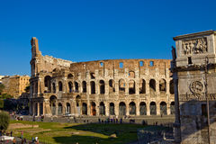 Colosseum and Constantines Arch Stock Photography
