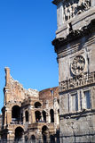 Colosseum and Costantine's arc in Rome, Italy Royalty Free Stock Image