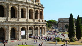 Colosseum with crowd of people stock video footage