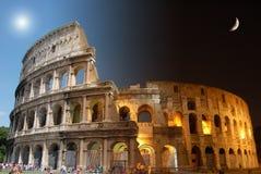 Colosseum, día y noche Imagen de archivo