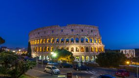 Colosseum day to night timelapse after sunset, Rome. stock video