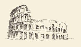 Colosseum de gegraveerde illustratie in van Rome, Italië wijnoogst Royalty-vrije Stock Afbeelding