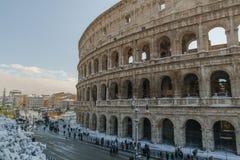 Colosseum durante la nieve fotos de archivo libres de regalías
