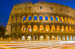 Colosseum at Dusk, Rome Italy Stock Photo